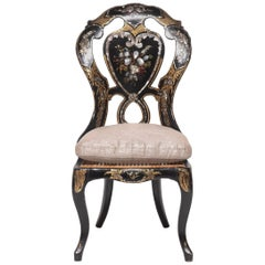 Victorian Papier Machè Chair with Mother-of-Pearl Inlay