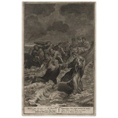 Christ and Peter Upon the Sea, 1728 Framed Engraving Religious
