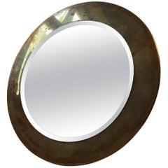 Small Round Vintage Danish Wall Mirror in Brass, 1960s