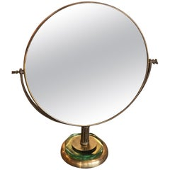 Italian Brass Vanity or Tabletop Mirror, 1934