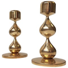 Pair of Danish Modernist 24-Carat Gold-Plated Candleholders by Hugo Asmussen