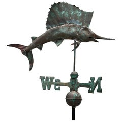 Vintage Sailfish Copper Weather Vane