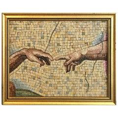 Grand Tour Micro Mosaic Detail of Michelangelo's Creazione di Adamo