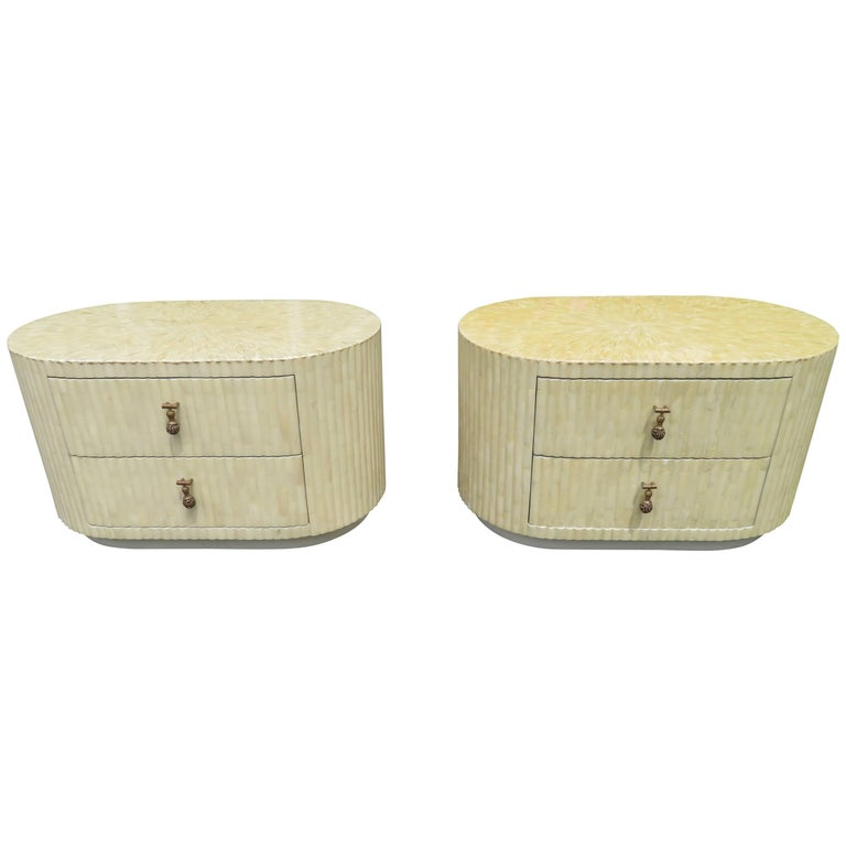 Outstanding Pair of Enrique Garcel Tessellated Bone Oval Nightstand End Tables