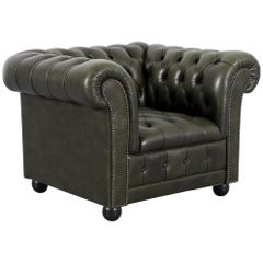 Chesterfield Leather Armchair Green One-Seat Club Chair