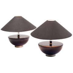 Pair of Dark Blue Glass Table Lamps by Bergboms