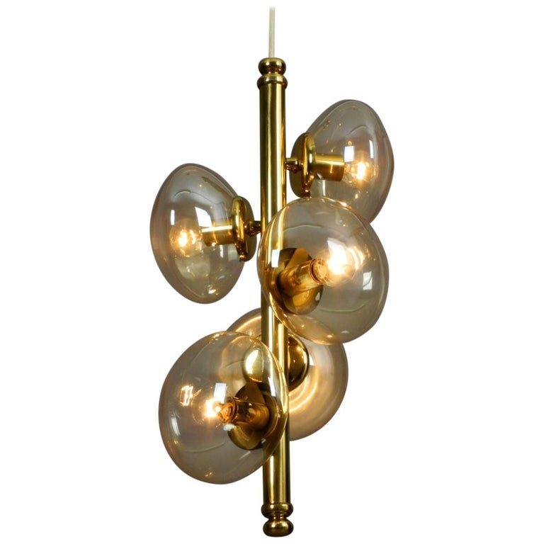 1960s Doria Brass Pendant Lamp with Five Gold Tinted Bubble Glass Shades