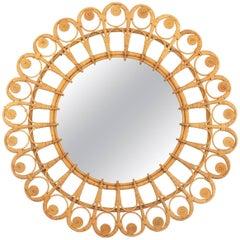 Spanish 1960s Mediterranean Boho Style Filigree Wicker & Rattan Circular Mirror