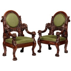 19th Century French Pair of Carved Mahogany and Green Horsehair Fabric Armchairs