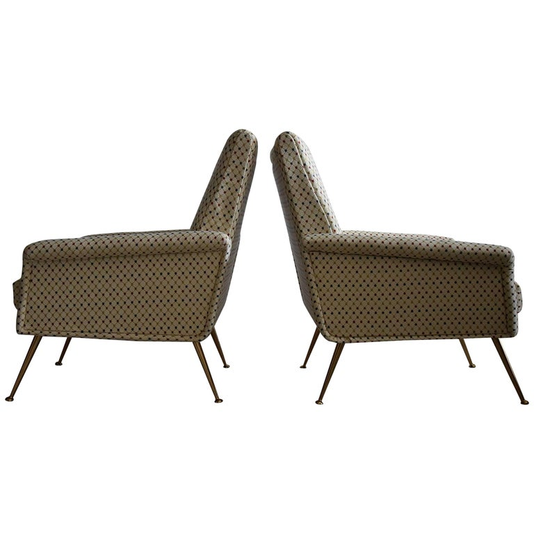 Italian Mid Century Modern Lounge Chairs For