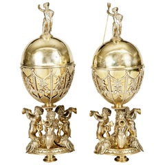 19th Century Pair of Elkington & Company Silver Plated Lidded Chalices