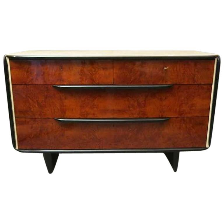 Art Deco Walnut and Parchment Italian Chest of Drawers, 1930