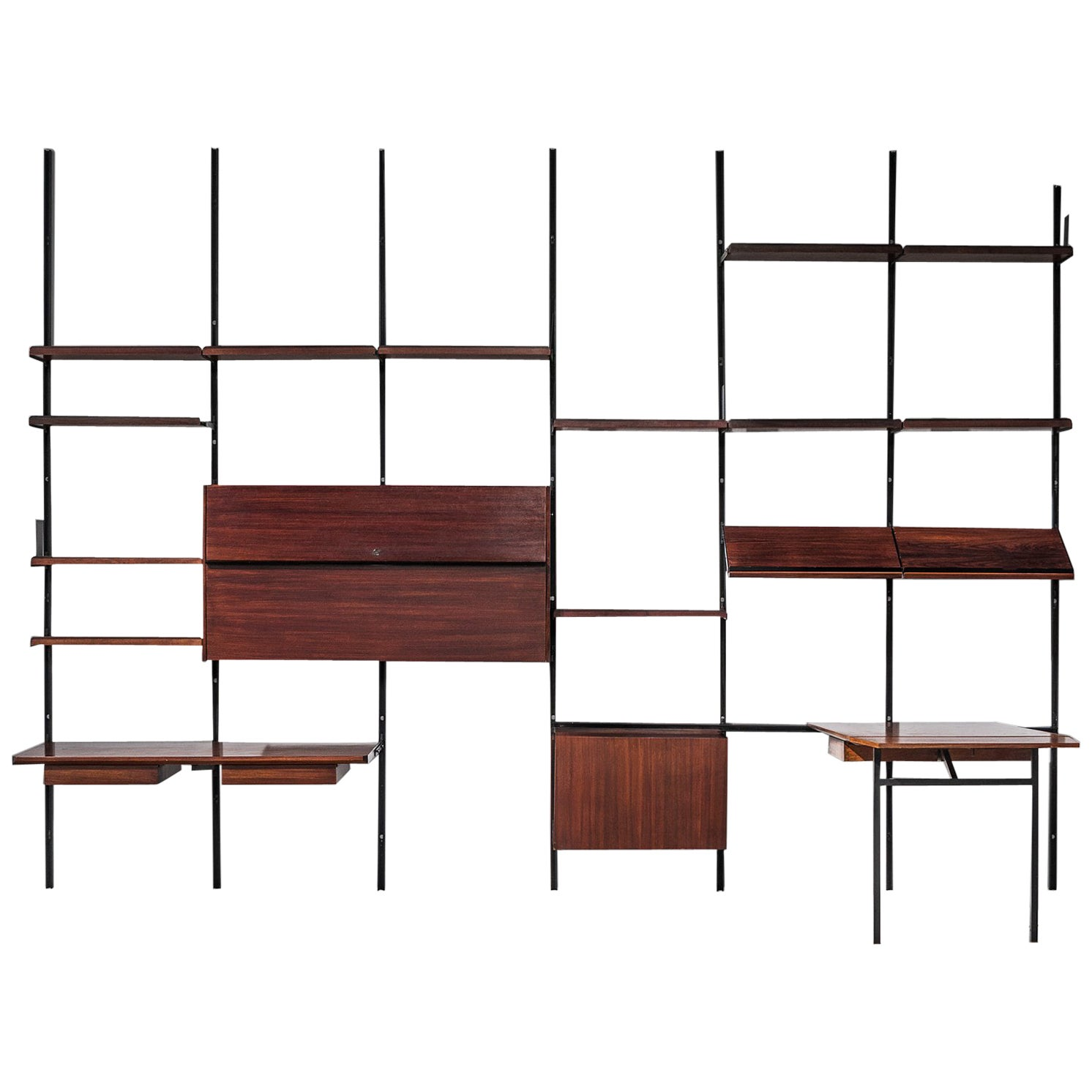 Wall Mounted Shelving Unit In Jacaranda By Joaquim Tenreiro, Brazil, 1950S