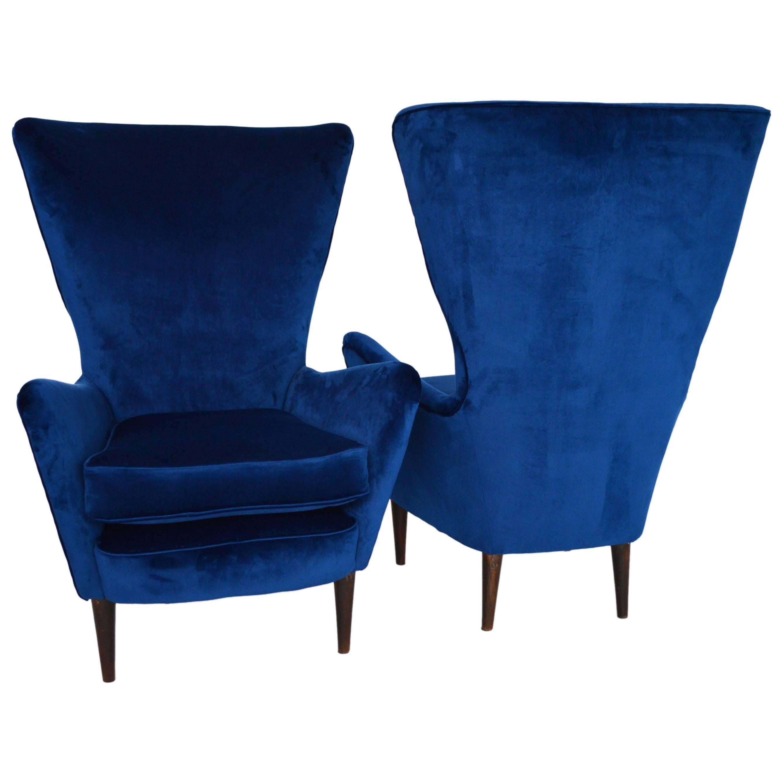 Italian Lounge Chairs Restored With Royal Blue Velvet, 1950s For Sale