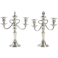 Pair of Candlesticks in Silver Plate, English Early 20th Century