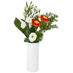 Cylindrical White Carrara Marble Vase Made in Italy