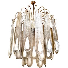 Opaline Mid-Century Modern Chandelier Glass Leaves with Gilt Frame, Austria