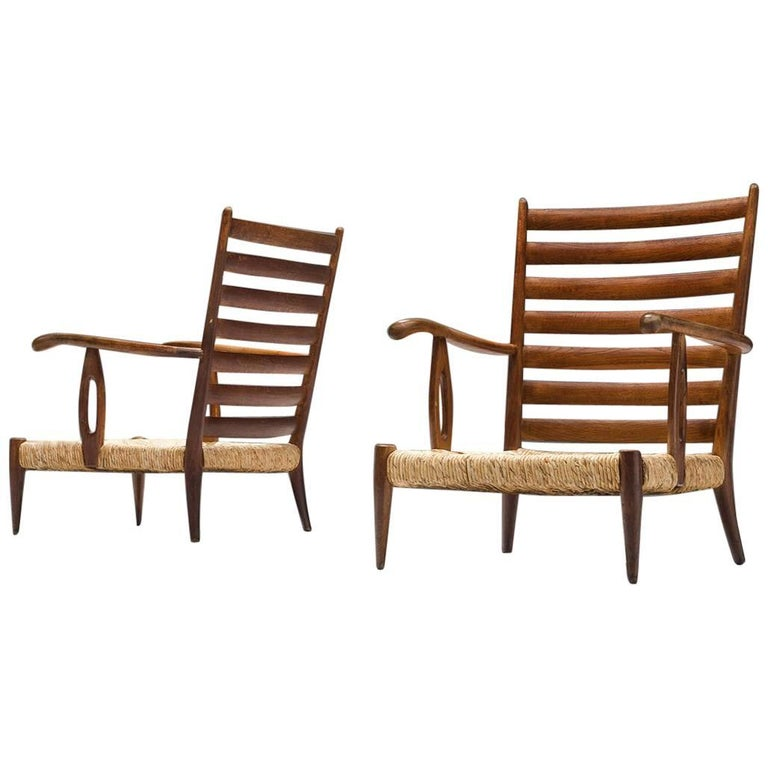 Paolo Buffa Armchairs in Walnut and Cane