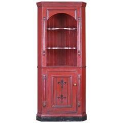 Vintage, Corner Cabinet, Late 20th Century, Painted, Pine Cupboard