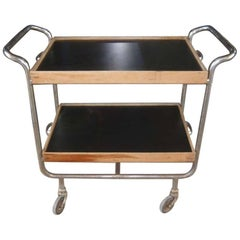 Italian Bar Cart in Chromed Metal with Wooden Shelves from 1960s