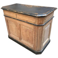 French Shop Counter with Black Painted Top from 19th Century