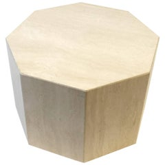 Octagonal Shape Italian Travertine Cocktail Table