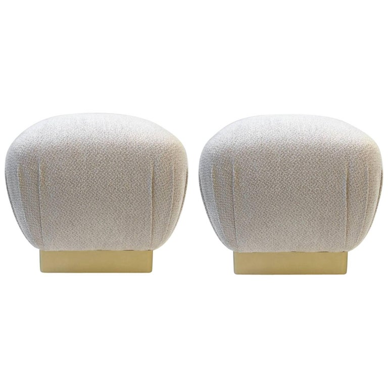 Pair of Satin Brass and Fabric Poufs by Marge Carson