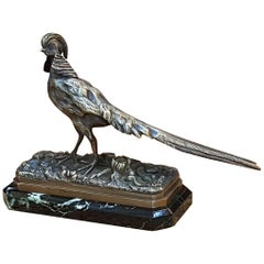 French Bronze Figure of a Golden Pheasant