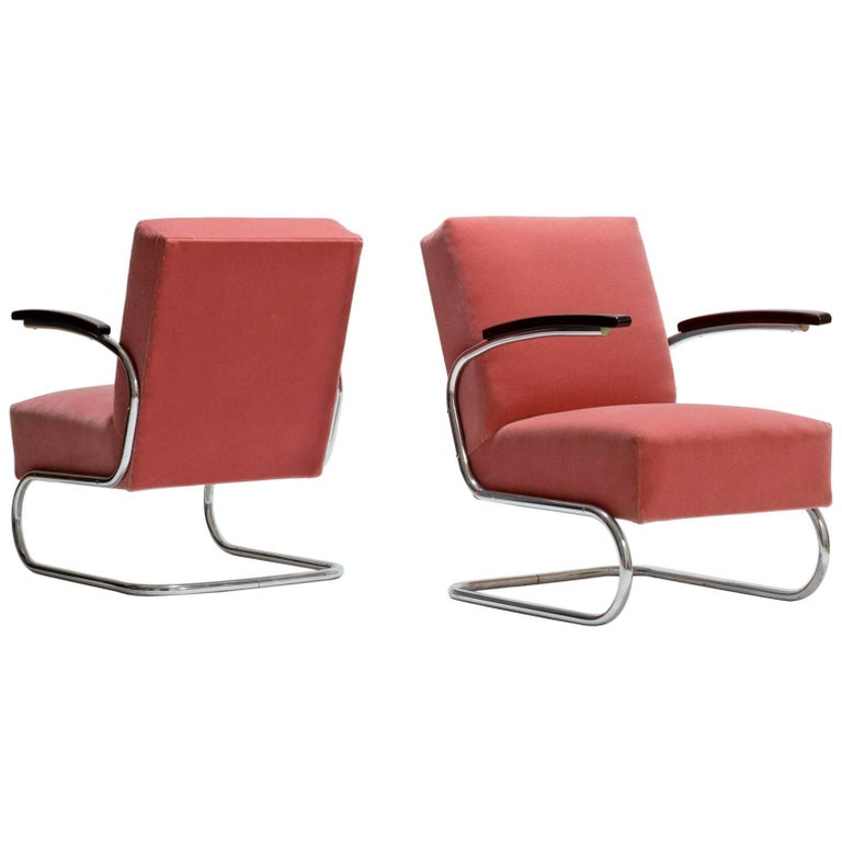 Pair of Cantilever Tubular Steel Armchairs by Mücke Melde with Mohair Upholstery