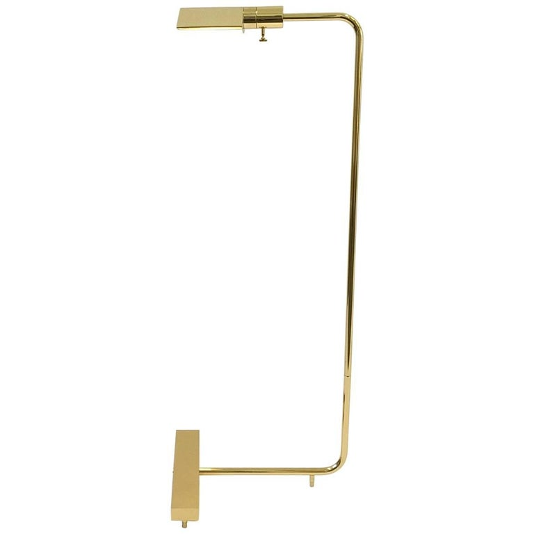 Polish Brass Adjustable Floor Lamp by Cedric Hartman