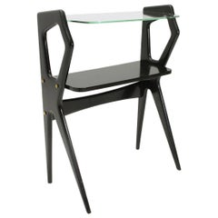Italian Modernist Wooden Console with Glass Top, 1950s