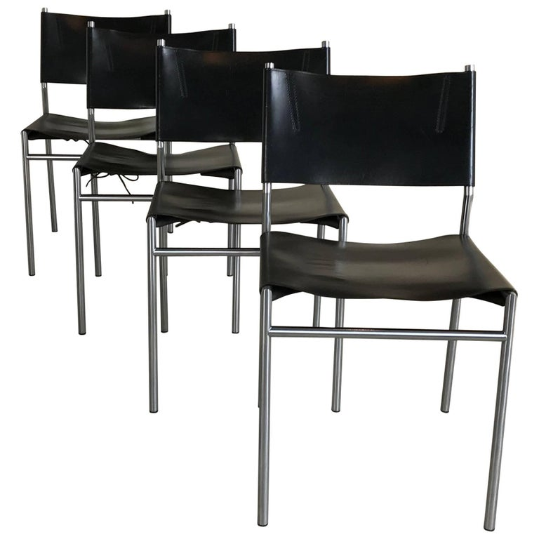 Set of Four Patinated Saddle Leather Chairs, SE06, Martin Visser for 't Spectrum