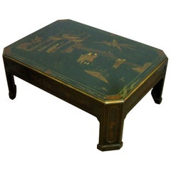 Oriental Emerald Green and Gilt Chinoiserie Coffee Table