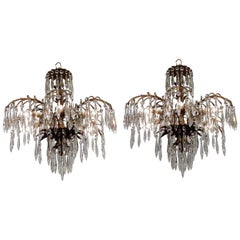 Pair of Brass and Crystal Palmette Six-Light Chandeliers, Europe, circa 1925