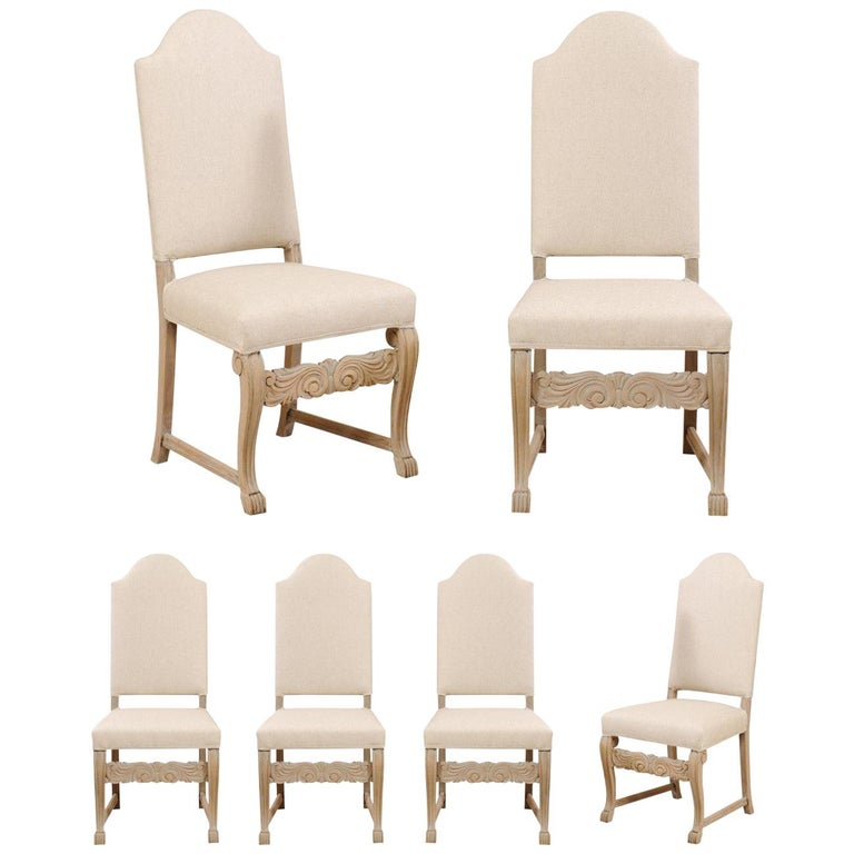 Set of Six Swedish Upholstered Vintage Pale Wood Side Dining Chairs