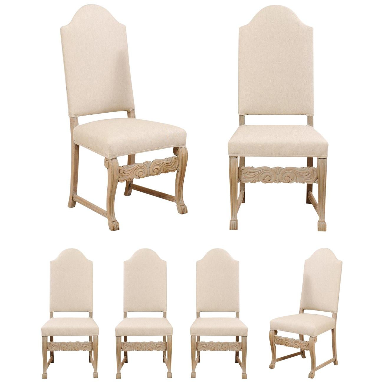Superieur Set Of Six Swedish Upholstered Vintage Pale Wood Side Dining Chairs For Sale