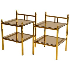 1970s Pair of French Maison Charles Style Brass Side Tables with Glass Shelves