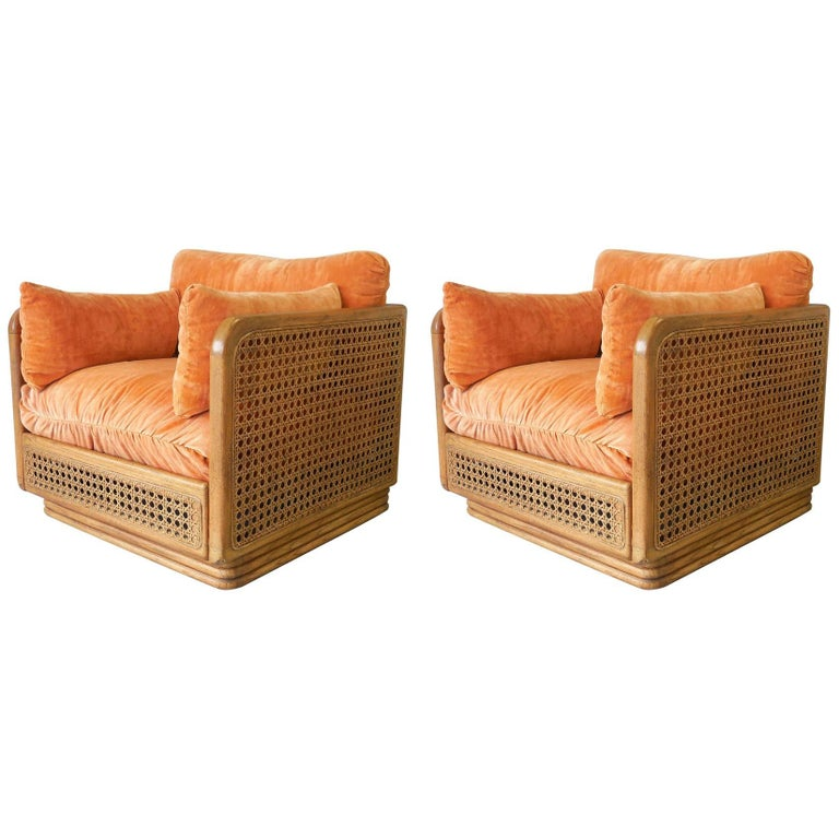 Pair of Cube Cane Modern Club Lounge Chairs, 1970s