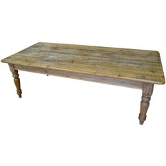 Late 19th Century Farm Table from Pine with Balustrade Legs
