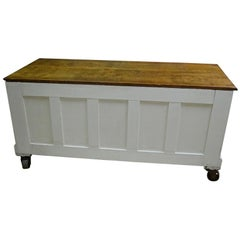 Cabinet / Counter of Quarter Sawn Oak; Industrial Wheels with White Milk Paint