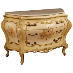 Venetian Dresser in Lacquered, Painted, Giltwood with Marble Top 20th Century