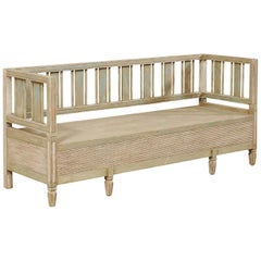 Swedish Karl Johan Painted Wood Bench with Decorative Back Splats