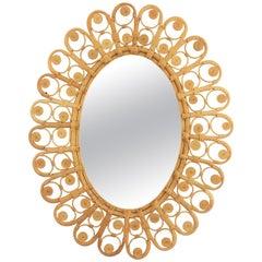 Mediterranean Bohemian Filigree Wicker & Rattan Large Oval Mirror, Spain, 1960s
