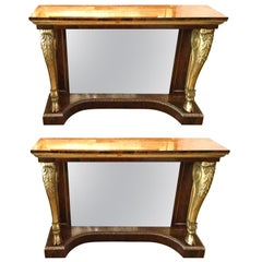 Pair of Rosewood and Gilt Console Tables, circa 1840