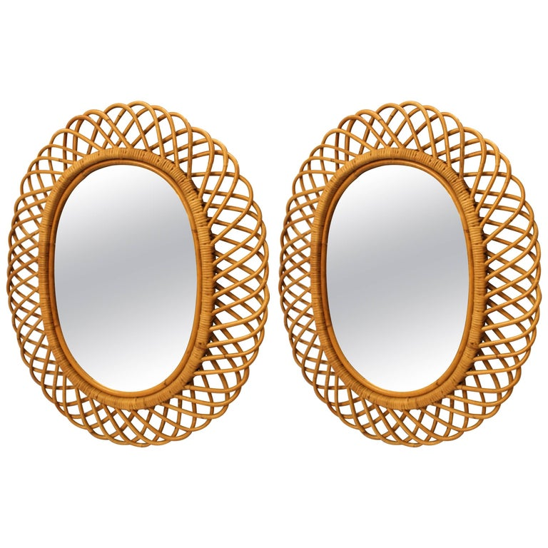Midcentury Bamboo Pair of French Mirror