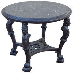Swedish Gothic Revival Table with Figural Columns and Stone Top, circa 1920