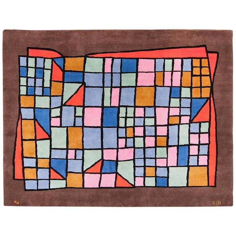Vintage French Paul Klee Design Art Rug