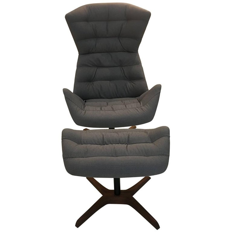 808 Fabric and Leather Swivelling Recliner Chair and Ottoman by Gebruder Thonet