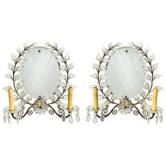 French 1950s Two-Light Mirrored Sconces