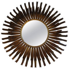 Monumental French Gilt Metal Sunburst Mirror 50""